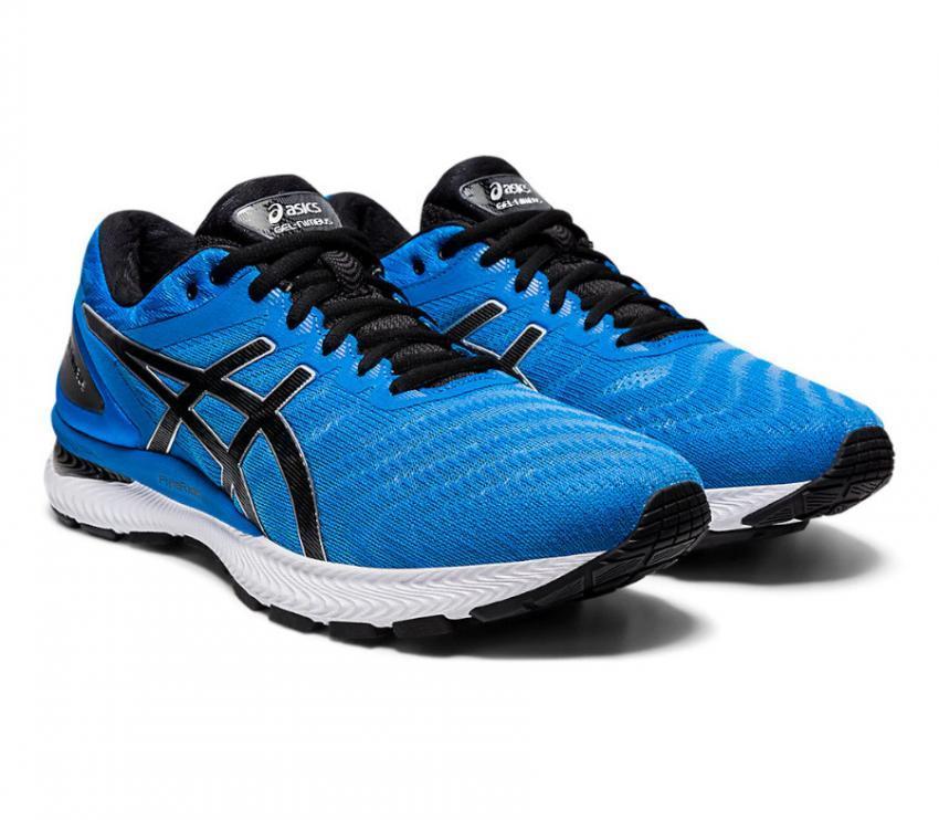 coppia di scarpe da running uomo asics gel nimbus 22 blu