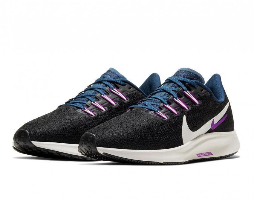 nike zoom pegasus 36 scarpa da running donna nere e viola 012