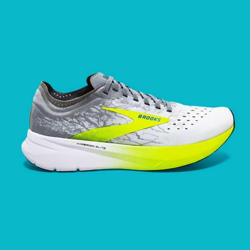 scarpa da corsa bianca, grigia e giallo fluo modello Brooks Hyperion Elite