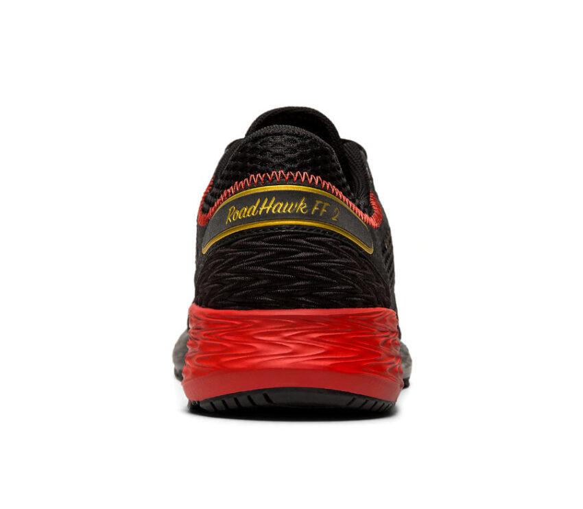 tallone scarpa running uomo asics roadhawk ff2 nere e rosso