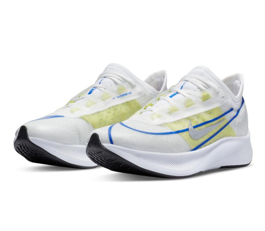 coppia scarpe da running nike zoom fly 3 donna bianche e fluo