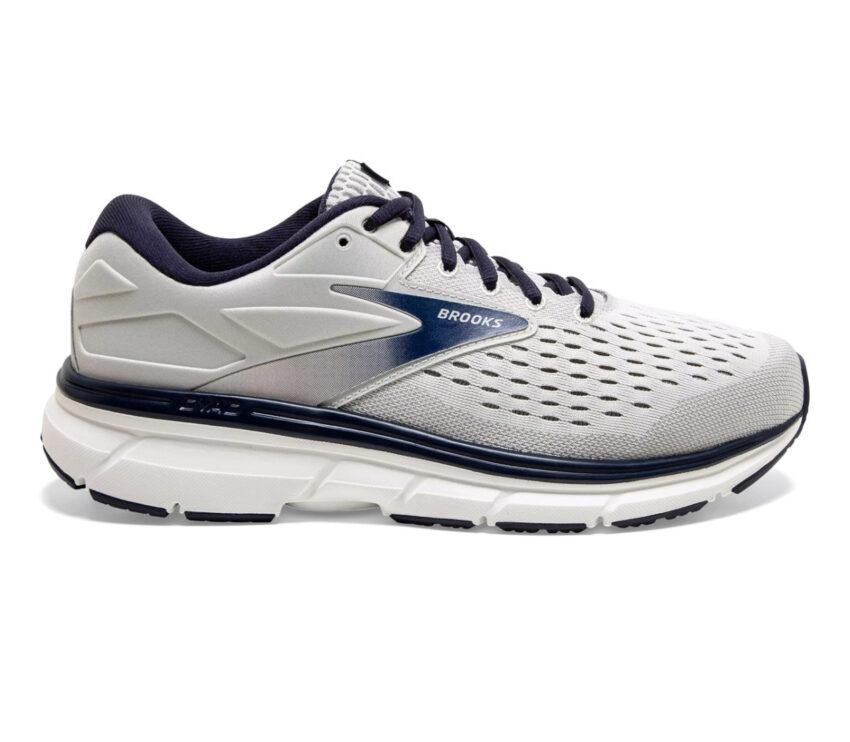 scarpa running uomo a pianta larga brooks dyad 11 wide 2e grigia e blu