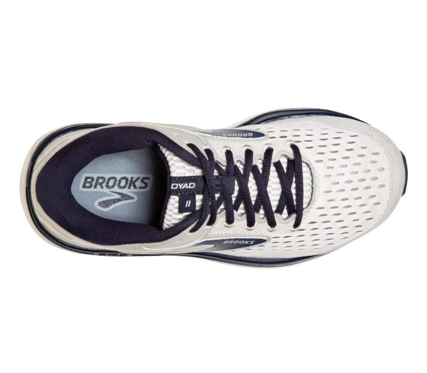 scarpa running uomo a pianta larga brooks dyad 11 wide 2e grigia e blu vista da sopra