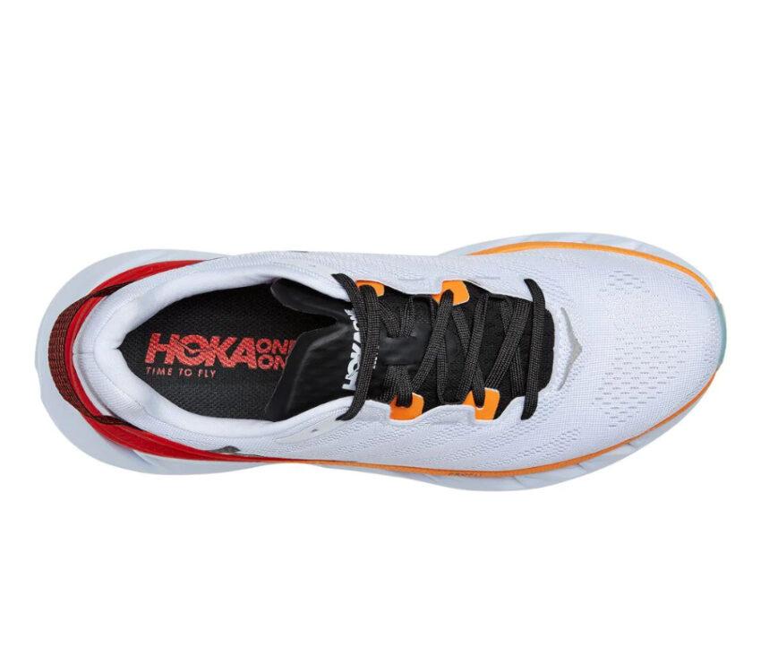 tomaia scarpa da running hoka elevon 2 uomo bianca e arancione