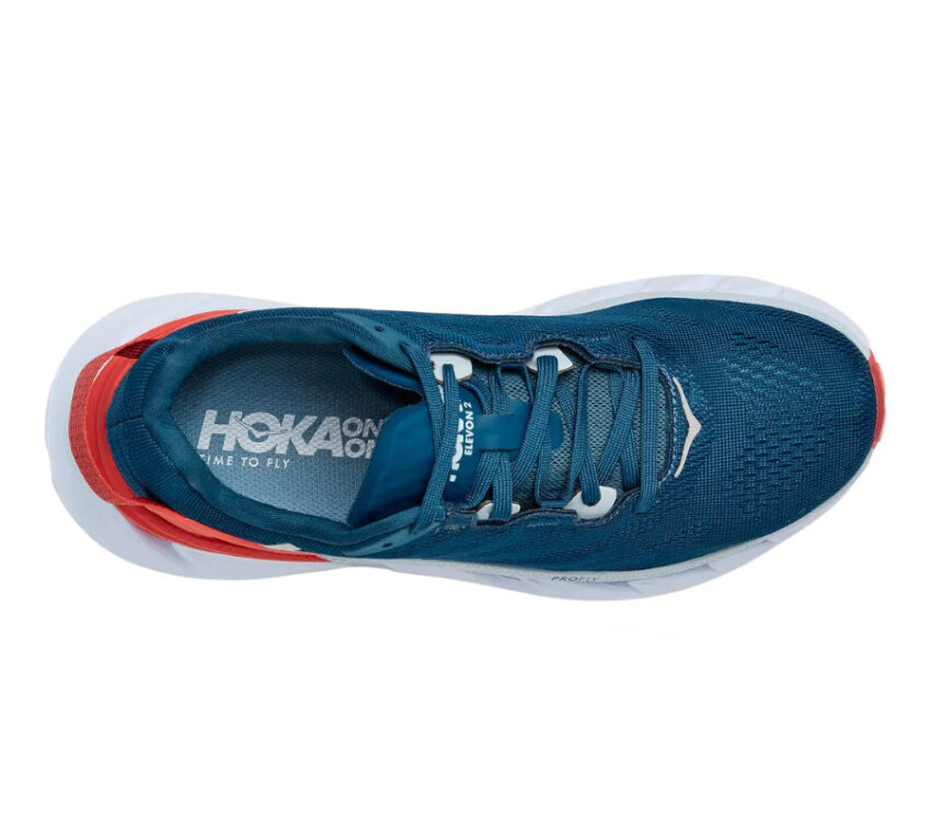 tomaia scarpe running donna hoka elevon 2 blu e rosse