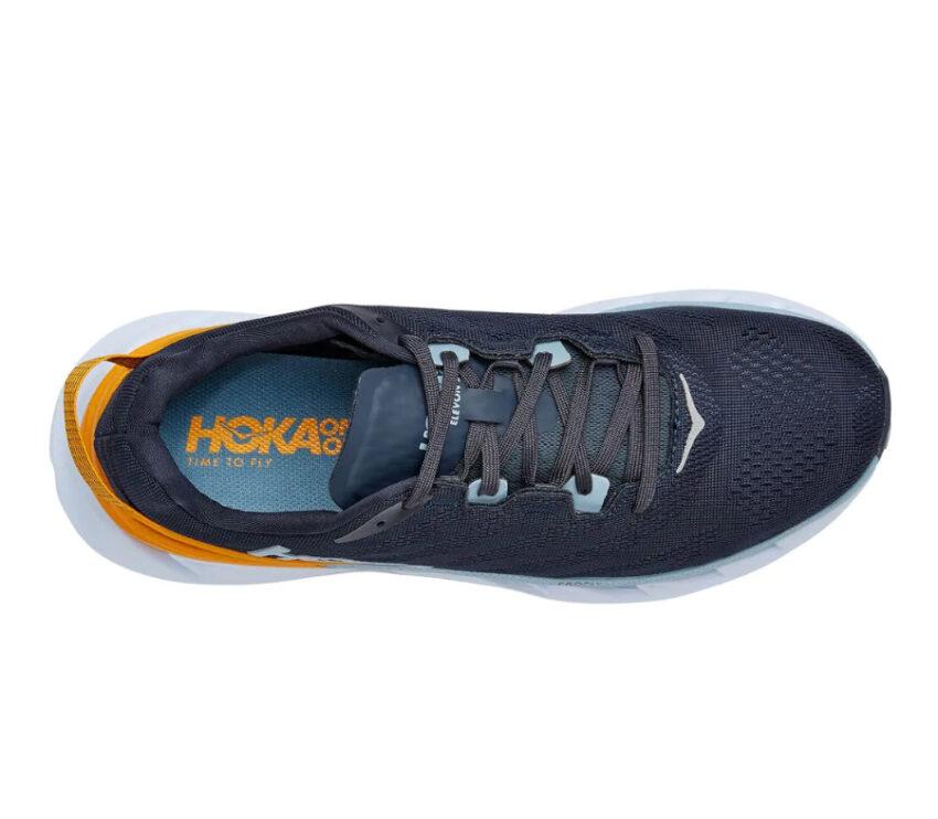 scarpa running hoka elevon 2 uomo blu gialla