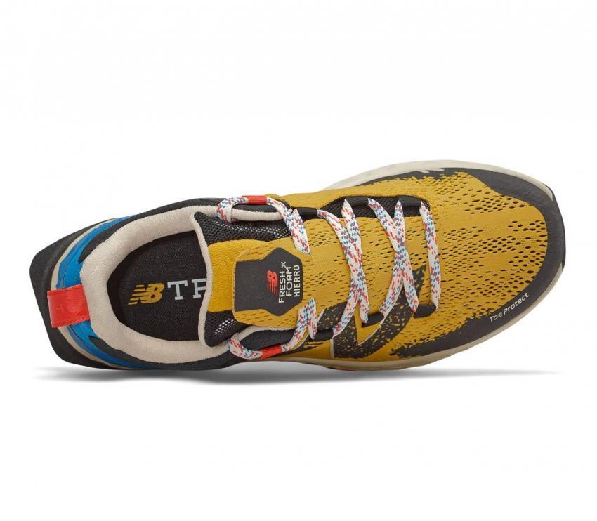scarpa da trail running uomo new balance hierro vr gialla e blu vista dall'alto