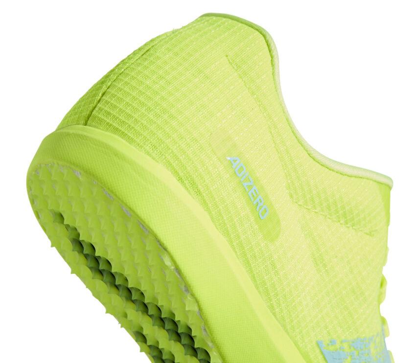 Scarpe salto in lungo adidas adizero lj gialla dettaglio tacco