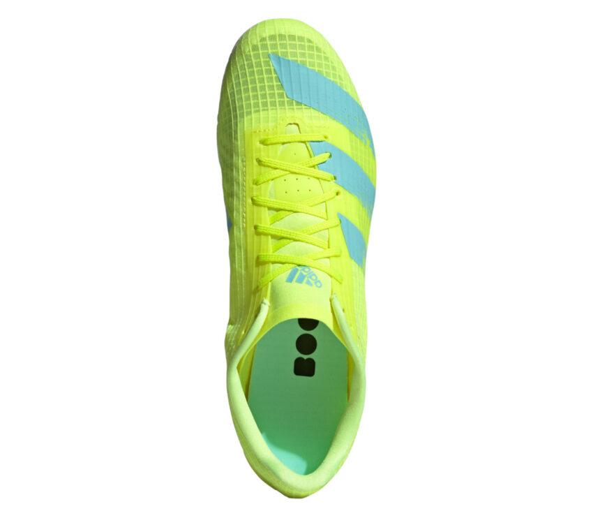 Scarpa adidas adizero md da pista giallo fluo e unisex vista dall'alto