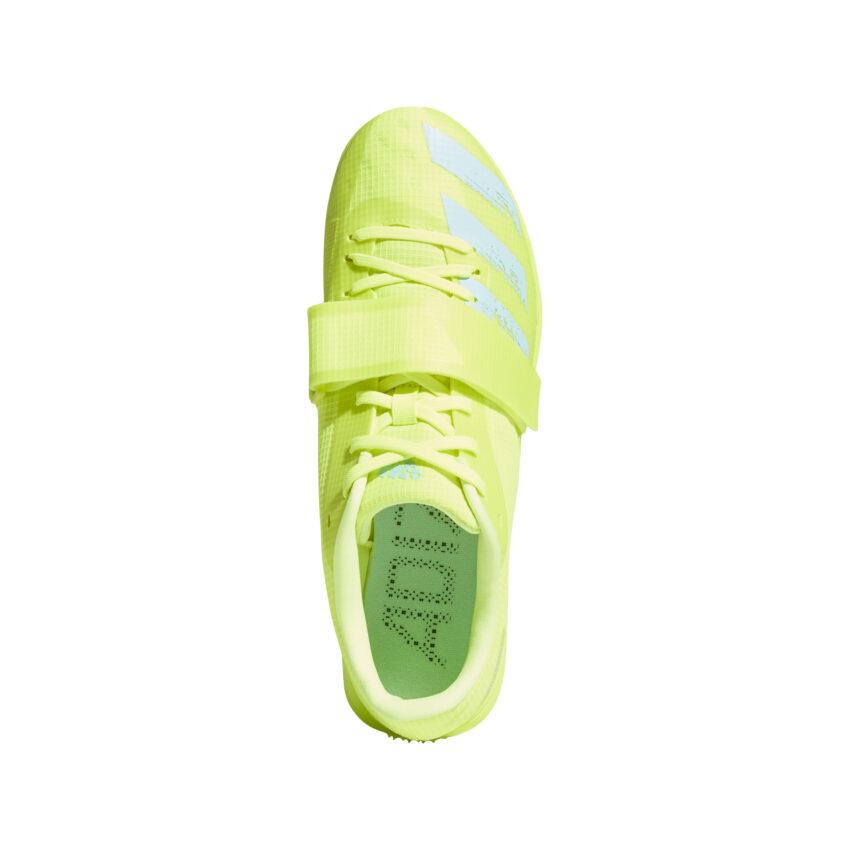 scarpa di atletica da pista adidas adizero tj/pv unisex vista da sopra gialla