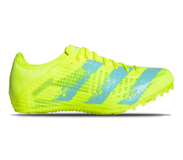 Scarpa chiodata da pista unisex adidas sprintstar giallo fluo con strisce celesti