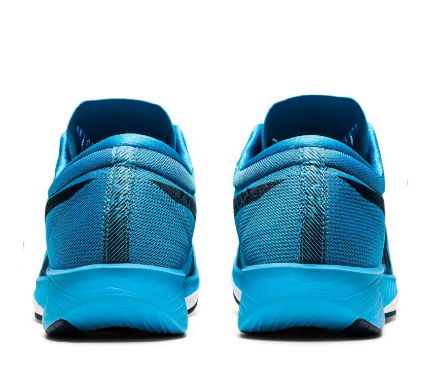 retro scarpe running veloci da uomo asics metaracer celesti e nere