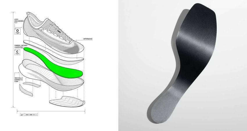 struttura scarpa nike zoom fly 3 con suola in fibra di carbonio