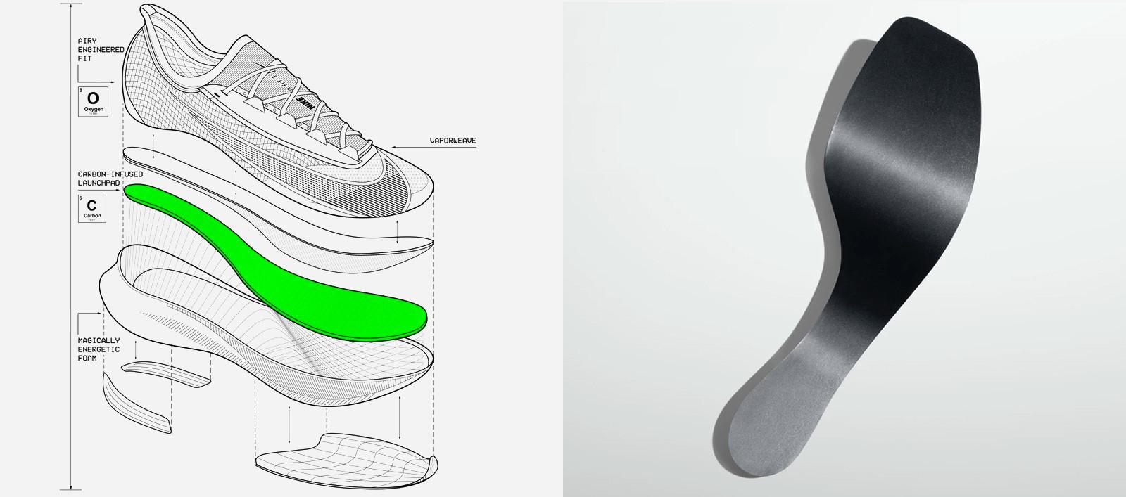 struttura scarpe Nike in carbonio