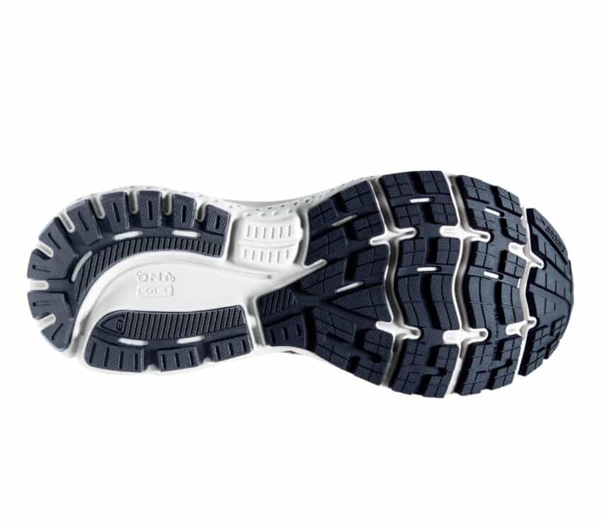 suola scarpa da running brooks uomo grigia e fluo