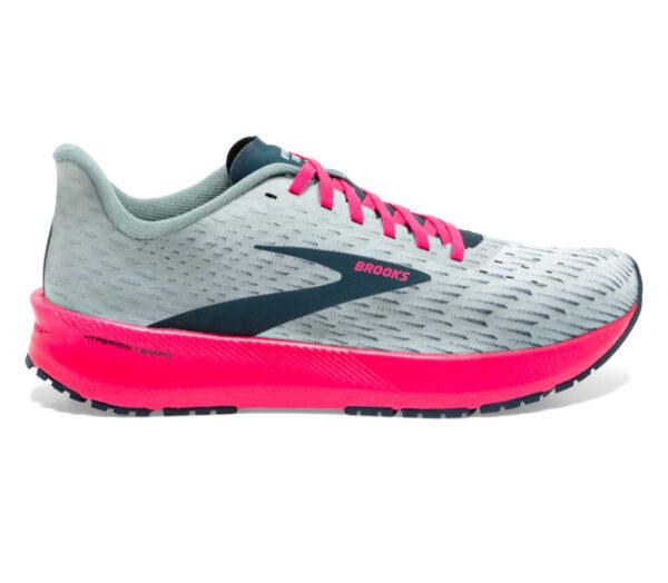 scarpa running donna brooks hyperion tempo grigia e fucsia