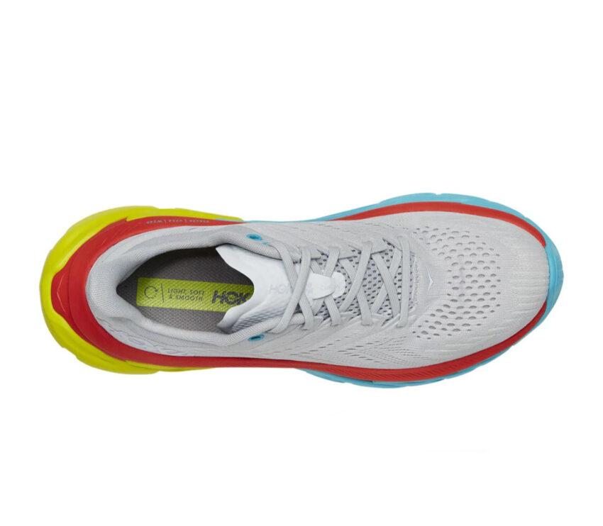 tomaia scarpe da running hoka clifton edge grigie e gialle uomo