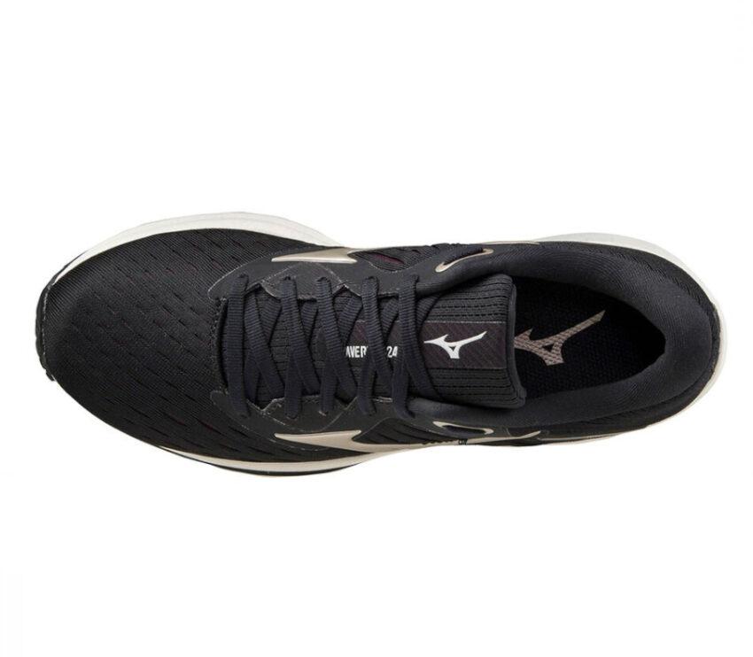 scarpa running donna nera mizuno wave rider 24 visra da sopra