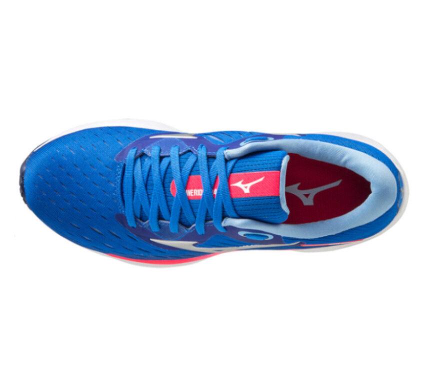 scarpa running da donna mizuno wave rider 24 blu vista dall'alto