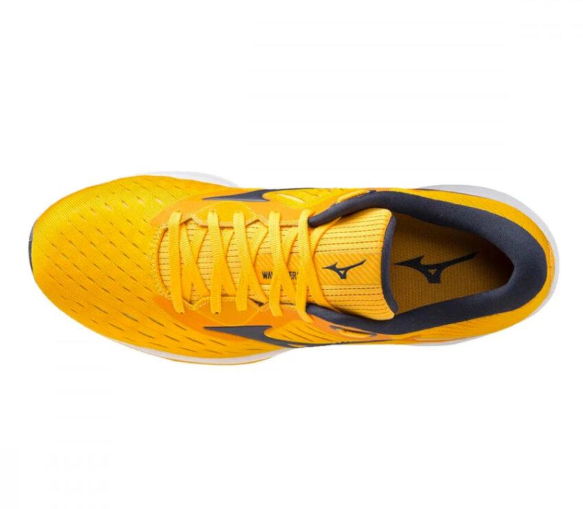 scarpa running veloce uomo mizuno wave rider 24 gialla vista da sopra