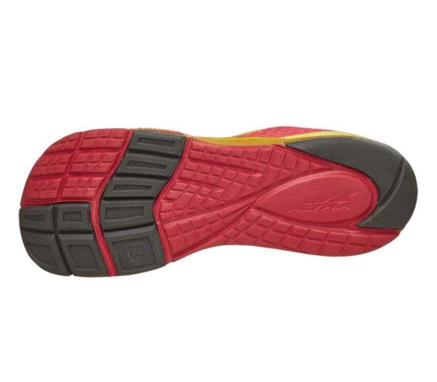 suola altra impulse scarpa running donna nera e rossa