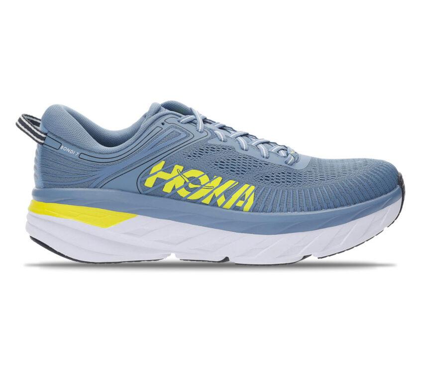 scarpa running uomo hoka one one bondi 7 celeste e giallo