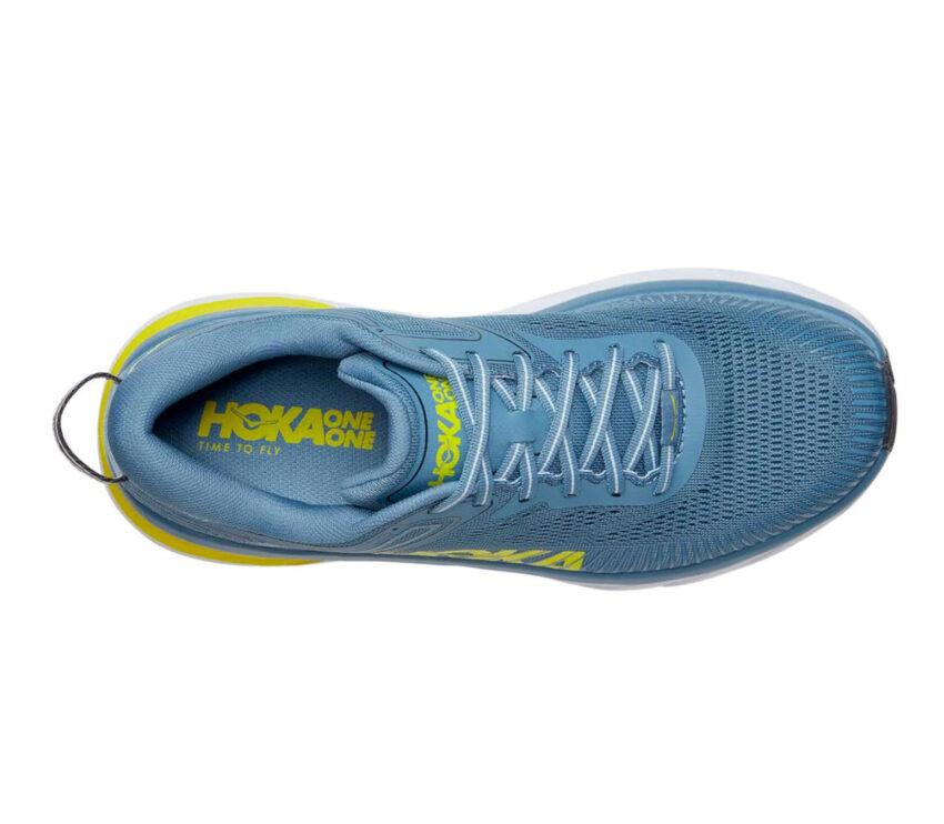 scarpa running uomo hoka one one bondi 7 celeste e gialla vista da sopra