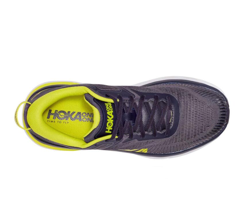 tomaia scarpe da running hoka bondi 7 uomo nere e gialle