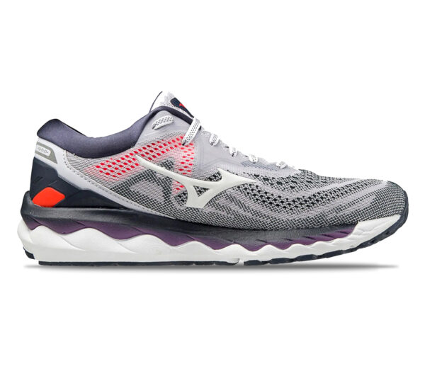 scarpa running donna mizuno wave sky 4 grigia viola e bianca