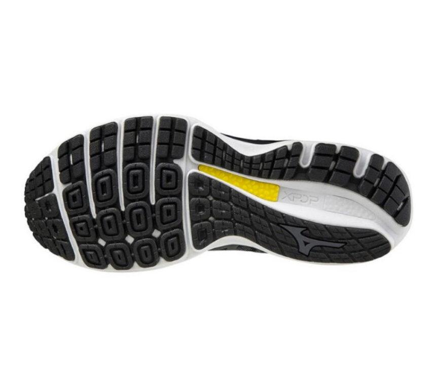 suola scarpa running uomo mizuno wave sky 4 nera, bianca e gialla