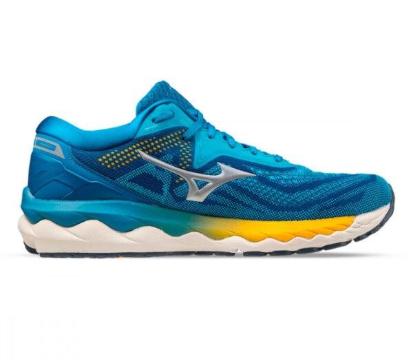 scarpa running uomo mizuno wave sky 4 azzurra e gialla