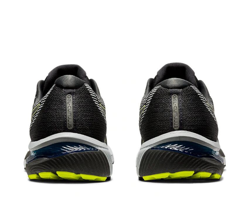tallone scarpa da running asics cumulus 22 nera e fluo