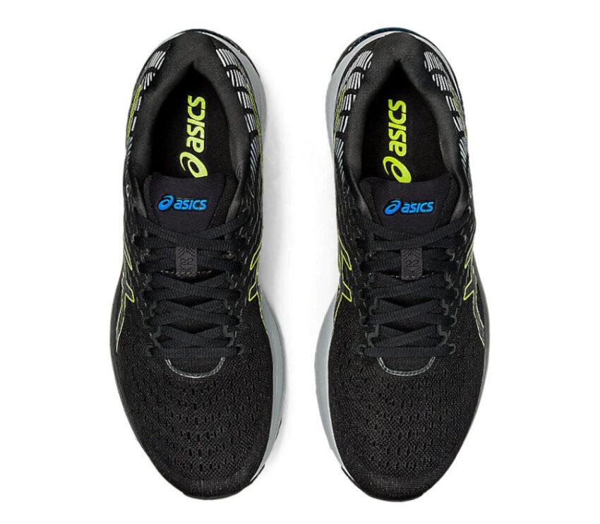 tomaia scarpa da running asics cumulus 22 nera e fluo