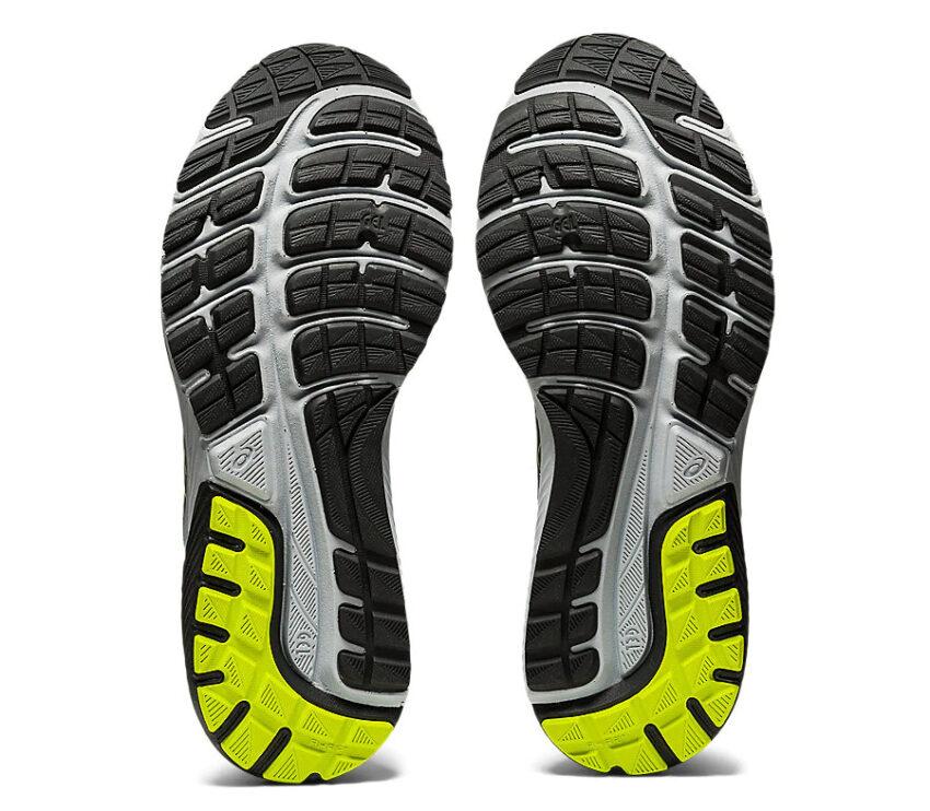 suola scarpa da running asics cumulus 22 nera e fluo