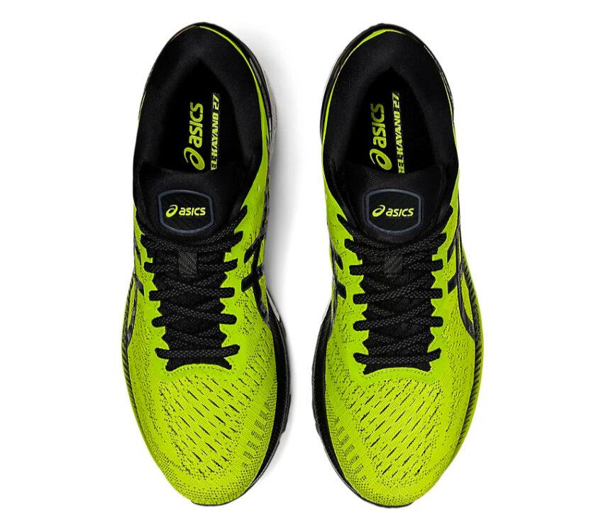 coppia scarpe asics gel kayano 27 da uomo stabili gialle e nere viste dall'alto