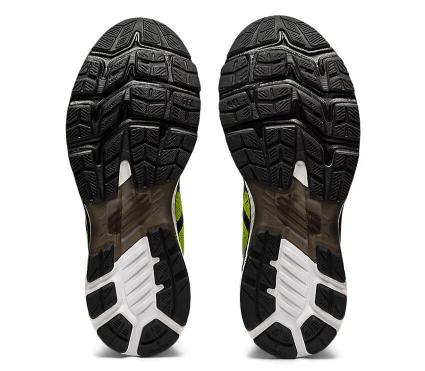 suola coppia scarpe asics gel kayano 27 da uomo stabili gialle e nere