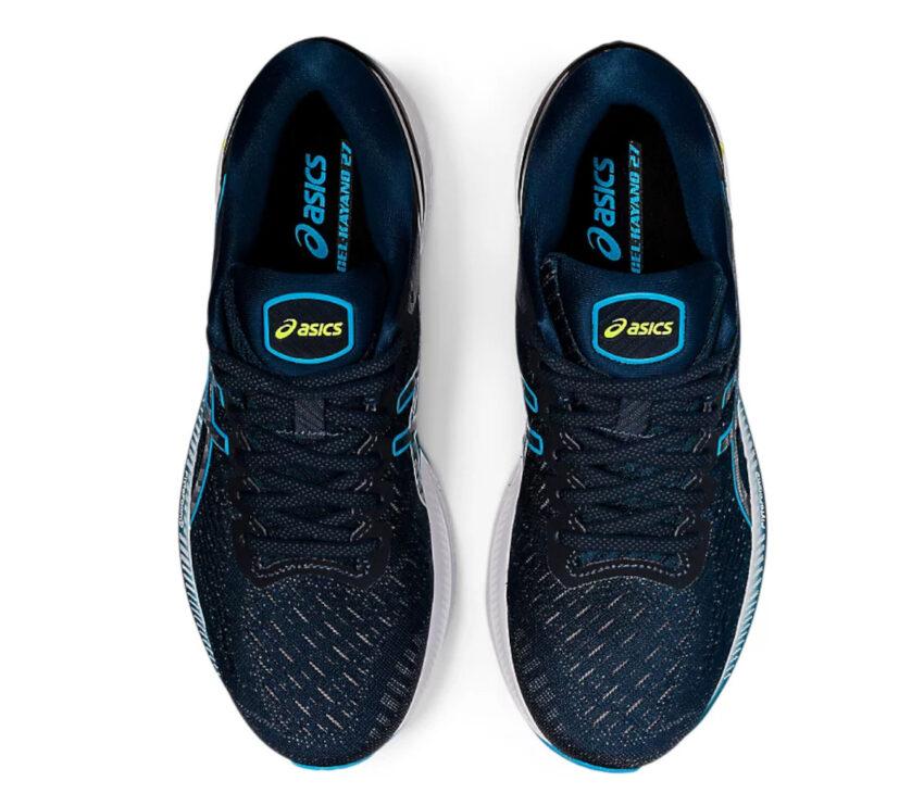 scarpe running uomo asics gel kayano 27 blu viste da sopra