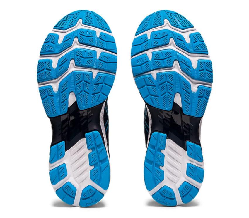 suole scarpe running uomo asics gel kayano 27 bianche e celesti