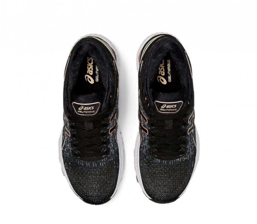 scarpe running donna asics gel nimbus 22 knit nere viste da sopra