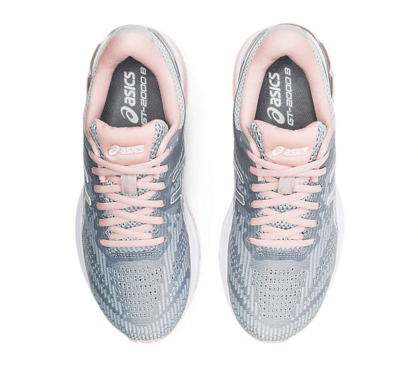 scarpe da running donna asics gt 2000-8 grigia e rosa viste dall'alto