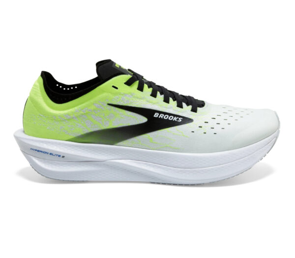 scarpa running unisex brooks hyperion elite 2 bianca, nera e giallo fluo