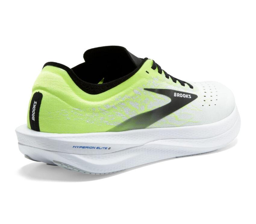 retro scarpa running unisex brooks hyperion elite 2 bianca, nera e giallo fluo