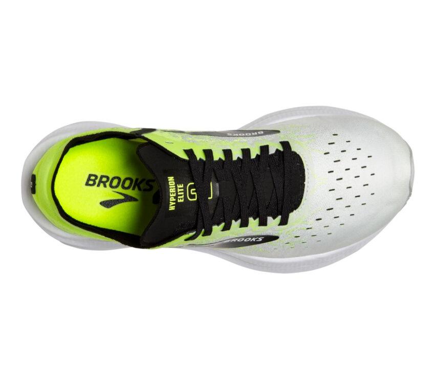 scarpa running unisex brooks hyperion elite 2 bianca, nera e giallo fluo vista dall'alto