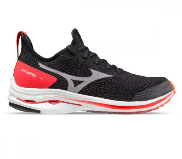 scarpa running uomo mizuno wave rider neo nera e rossa