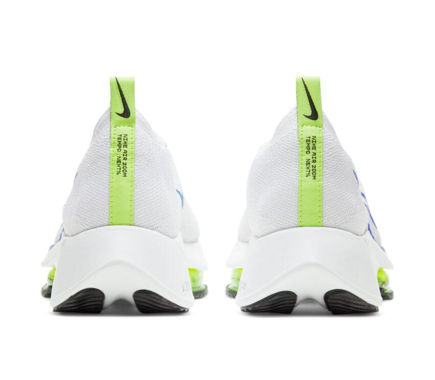 tallone scarpa running nike air zoom tempo next bianca e blu