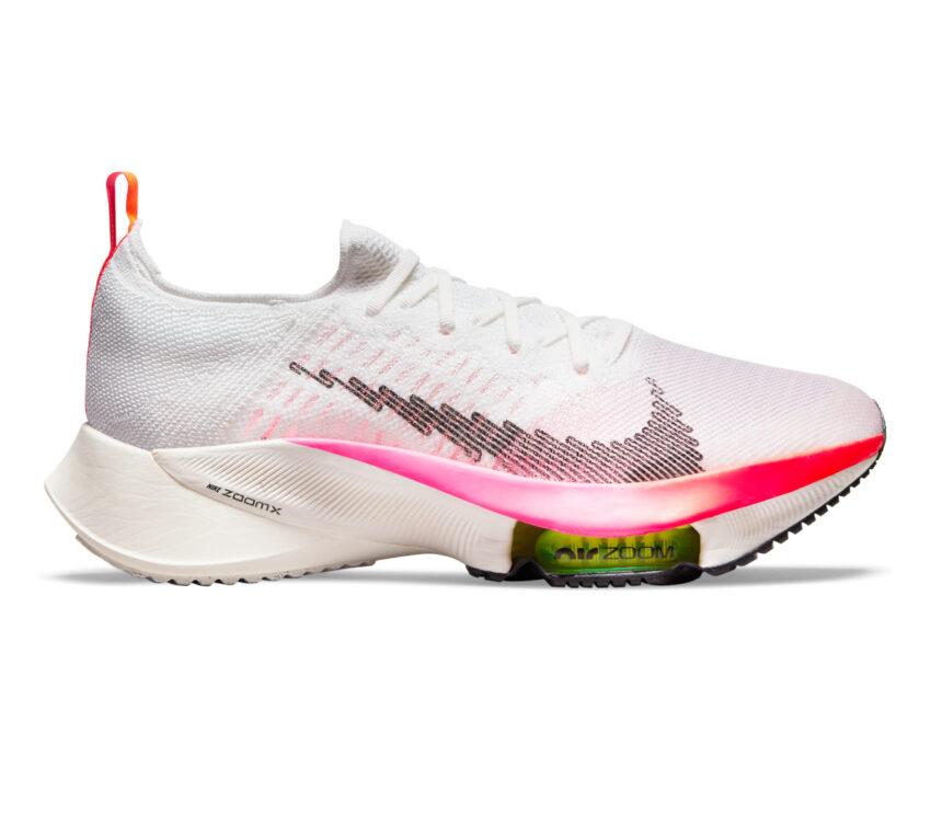 scarpa da running uomo veloce nike air zoom tempo next fk bianca e rosa