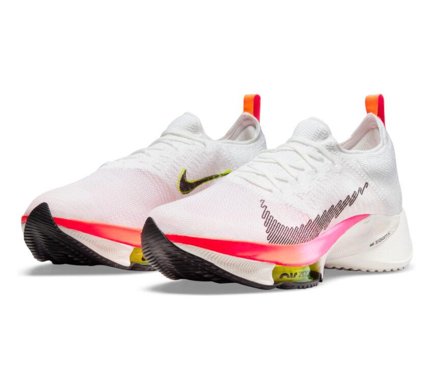 coppia scarpa da running uomo veloce nike air zoom tempo next fk bianca e rosa