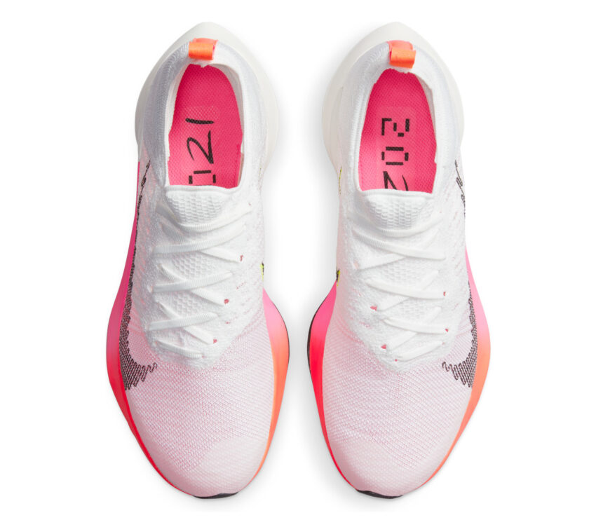 tomaia scarpa da running uomo veloce nike air zoom tempo next fk bianca e rosa