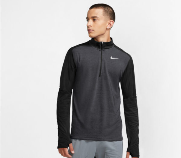 giacca da running nike nera con zip a metà lunghezza