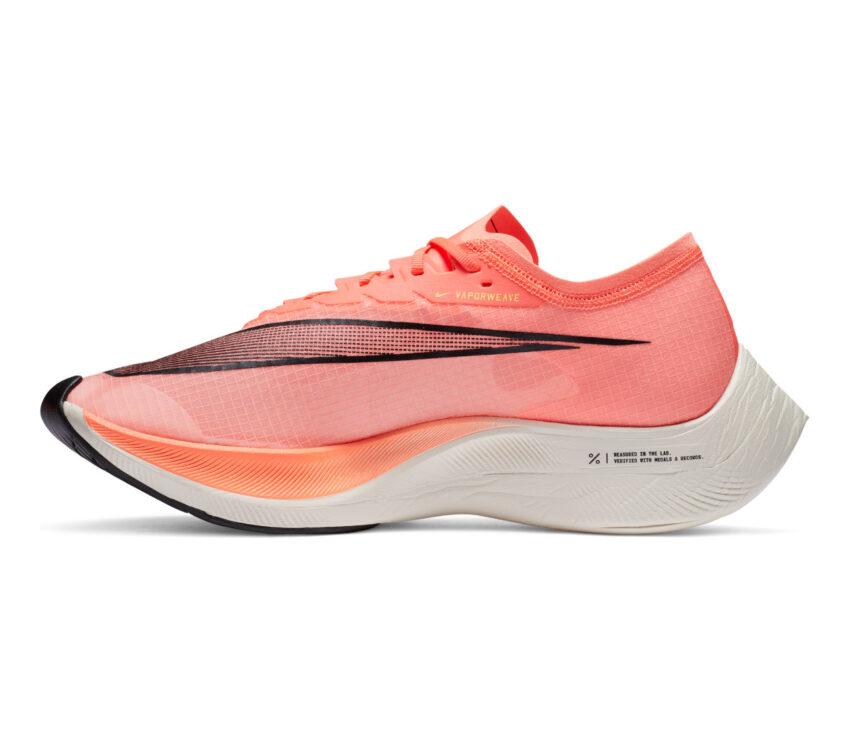lato scarpa da running nike zoomx vaporfly next mango 800